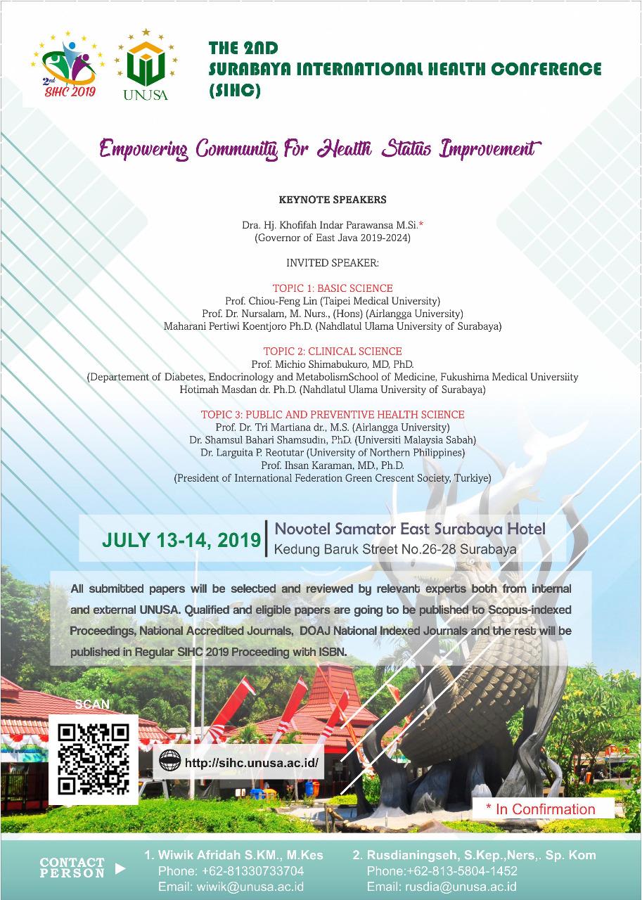 View Vol. 1 No. 1 (2019): Surabaya Internasional Health Conference 2019
